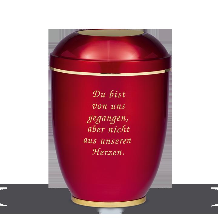 Urne Bordeaux, Goldband, Sockel Messing poliert, Trauertext Nr. 2