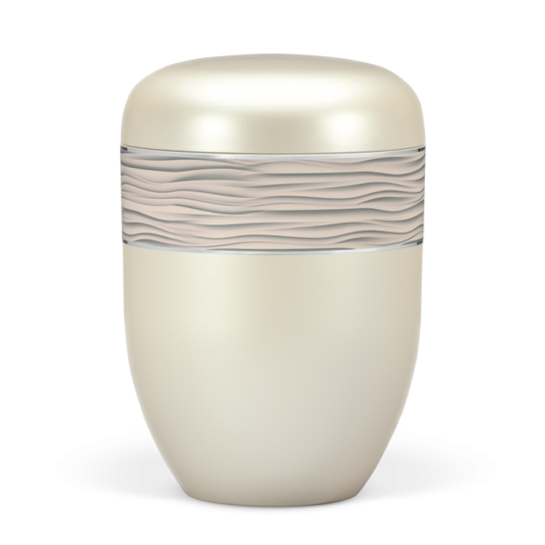 Urne Cremeweiss-Perlmutt, Dekorband - Wellenmuster