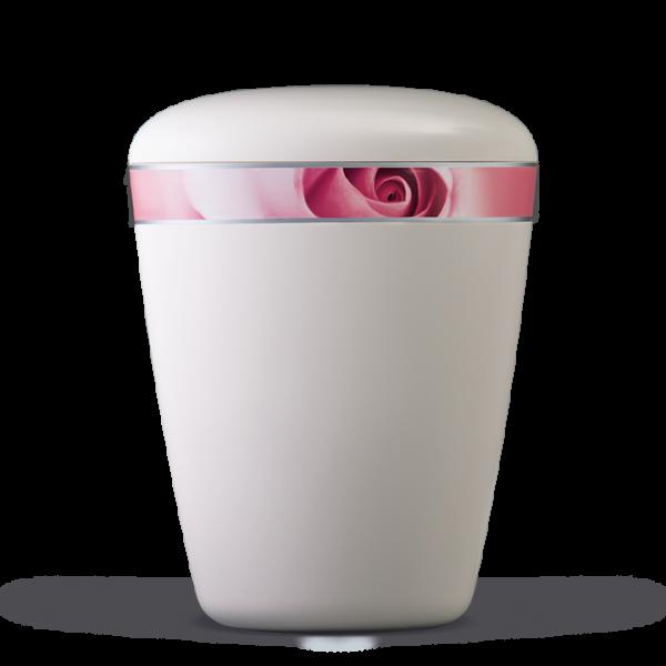 Urne Cremeweiß, Dekorband: Rosenblüte
