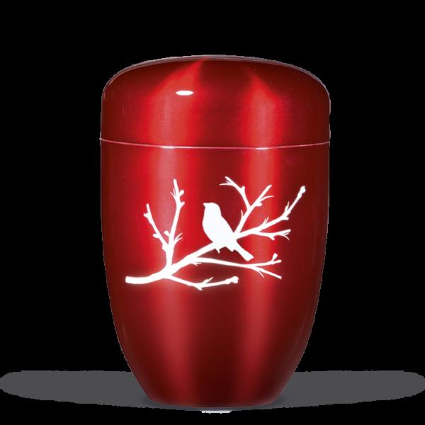 "Urne Bordeaux, Airbrusch - ""Vogel"""