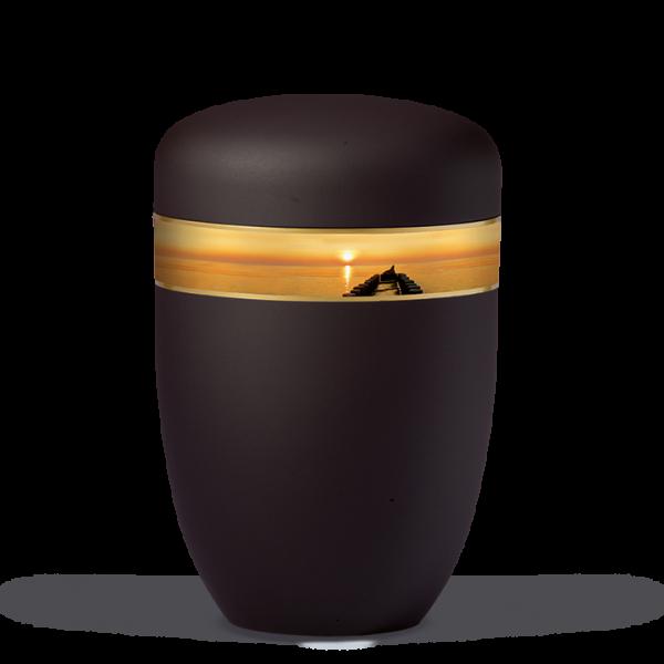 Urne Anthrazit-Velour, Dekorband: Sonnenuntergang am Seesteg