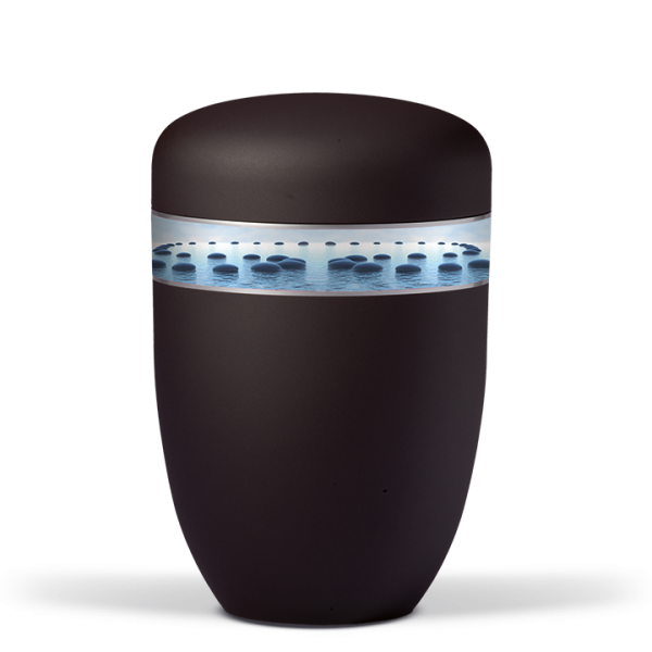 Urne Anthrazit-Velour, Dekorband: Stille am Wasser