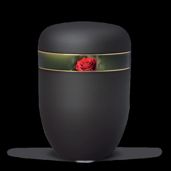 Urne Anthrazit Velour, Dekorband Rosenblüte