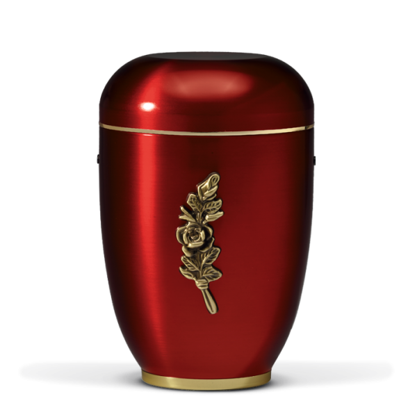 Urne Bordeaux, Messing Rosenbund, Mess. Sockel, Goldband