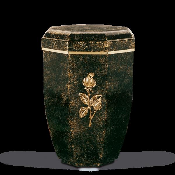 Urne Achteckig, Schwarz-Bronze patina., Goldband, Rosenzweig
