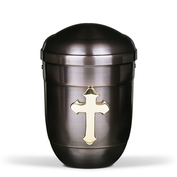 Urne Dunkel galvanisch, Messing Kreuz poliert