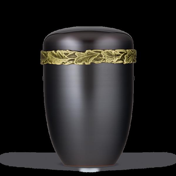 Urne Dunkel galv., Messing Eichenlaubfries