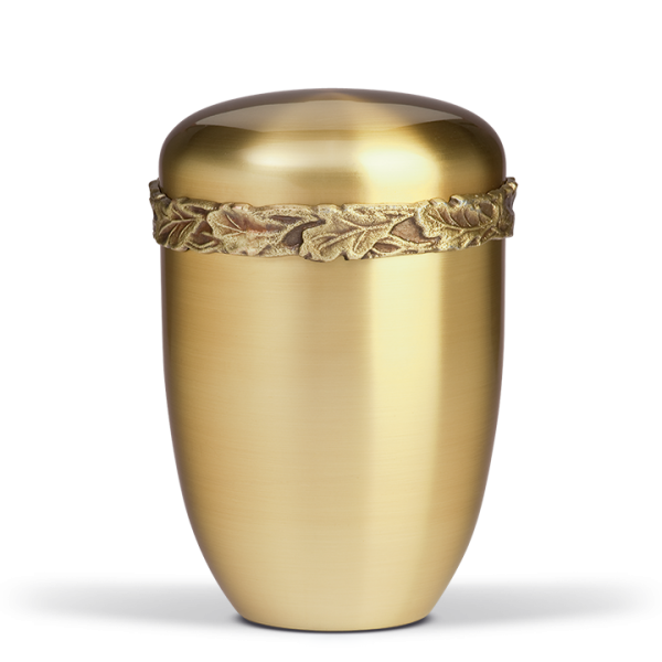 Urne Messing galvanisch,  Eichenlaubfries