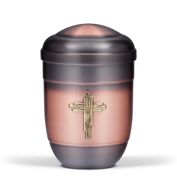 Urne Alt-Kupfer galvanisch, Messing Kreuz