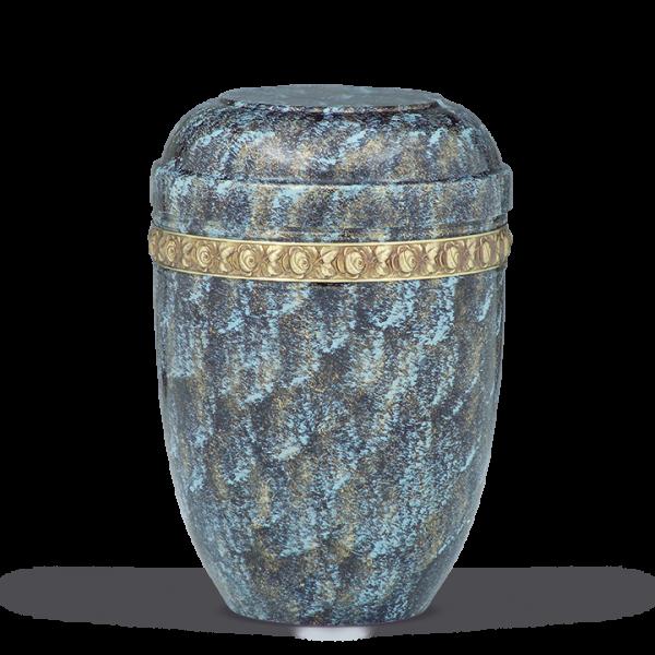Urne Blau-Bronze patiniert, Rosendekor