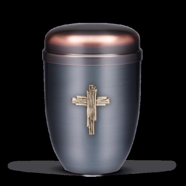 Urne Dunkel galvanisch, Modernes Messing Kreuz