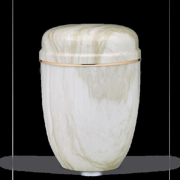 Urne Weiss Marmoriert, Goldband