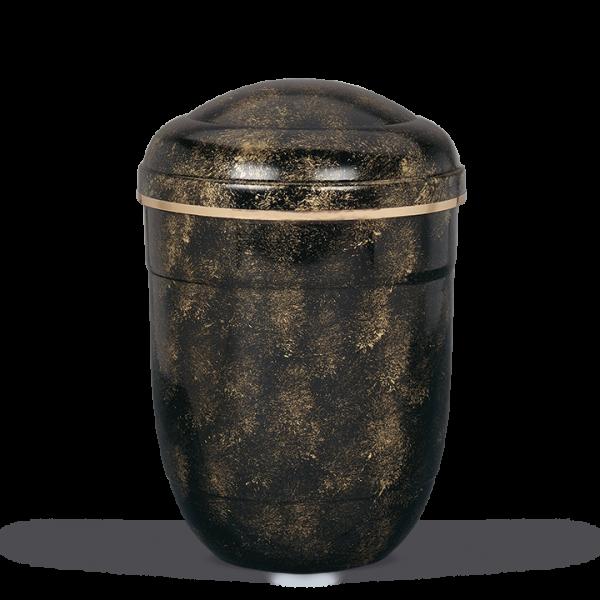 Urne Schwarz-Bronze Handpatina, Goldband