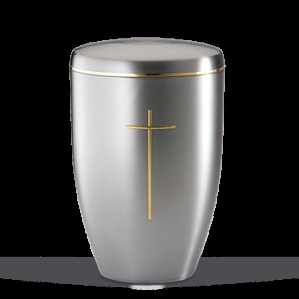 Urne ZIHESTA, Gold Stripdome Kreuz, Goldband