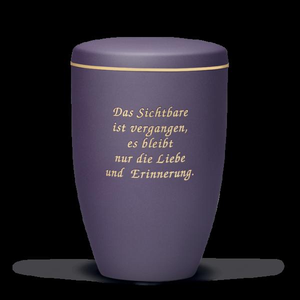 Urne Braun-Violett, Goldband, Trauertext Nr. 6