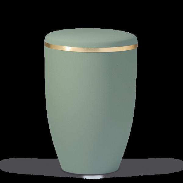 Urne Olivegrün Velour, Goldband gebürstet
