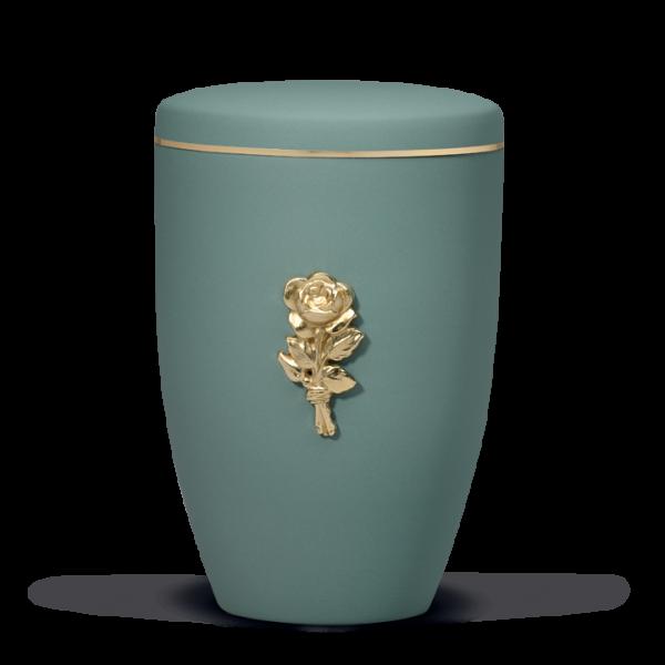 Urne Olivegrün Velour, Messing Rosenblüte, Goldband