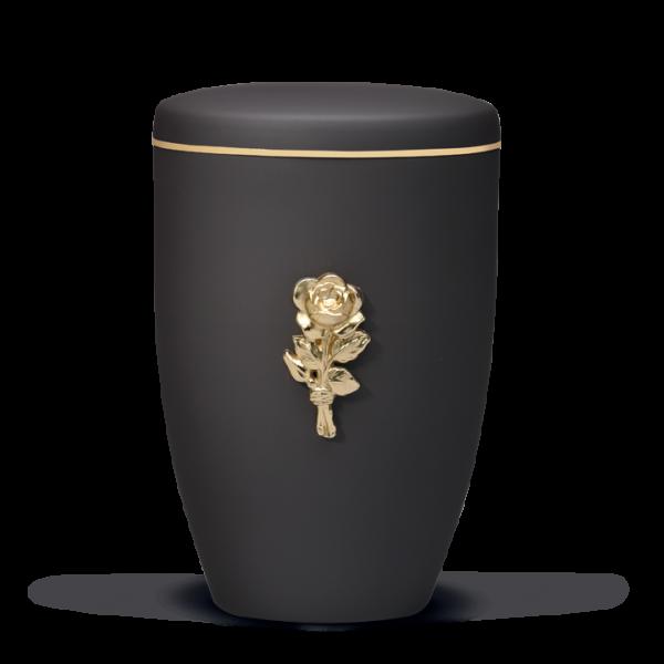 Urne Anthrazit Velour, Messing Rosenblüte, Goldband
