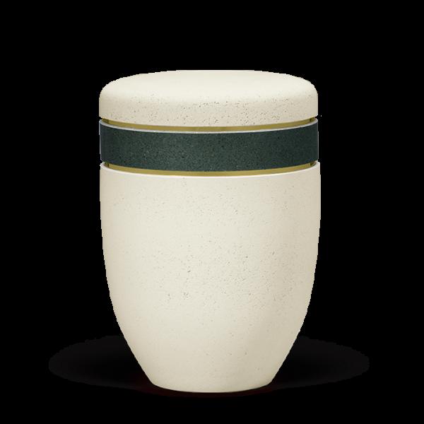 Urne Terra-Jura ®/Gewachst, Hell Beige, Zierband Petrol Grün, Goldbänder