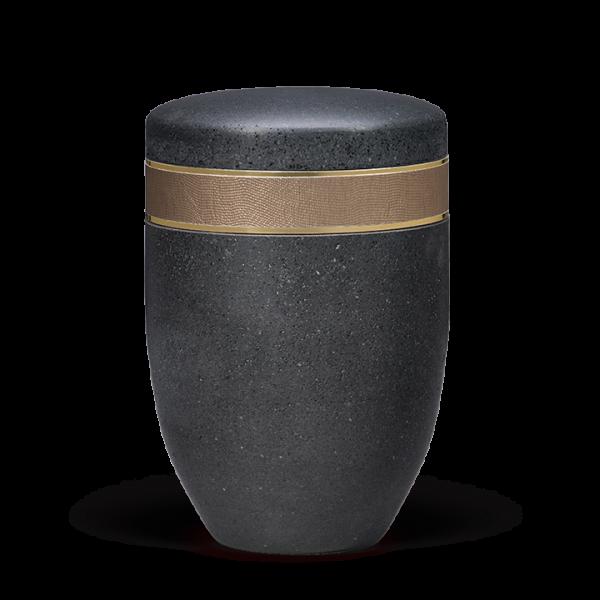 Urne Terra-Jura ®/Gewachst, Anthrazit,Zierband Bronze gehämmert,Goldbänd.