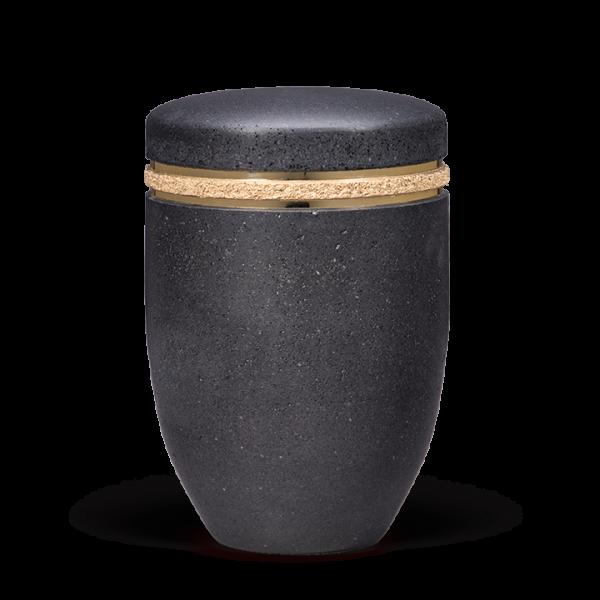 """Urne Terra-Jura ®/Gewachst, Anthrazit, Zierband """"TerraJura"""", Goldbänder"""