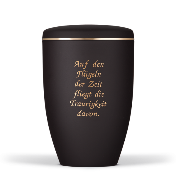 Urne Anthrazit Velour, Goldband, Trauertext Nr. 8