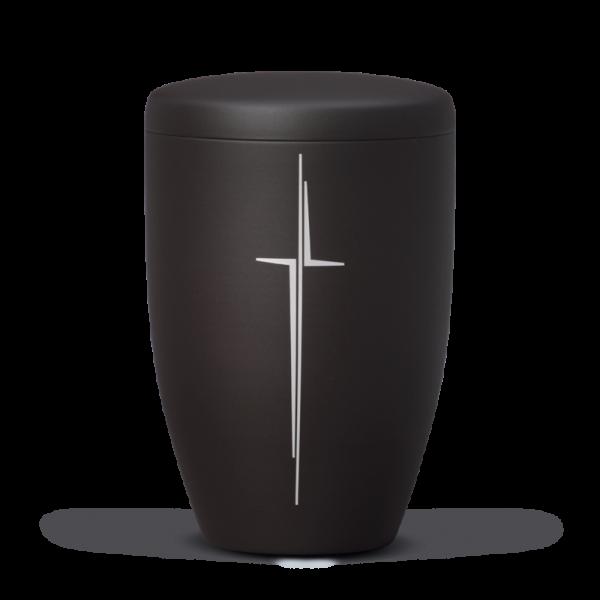 Urne Anthrazit Velour, Modernes Kreuz Matt Silber